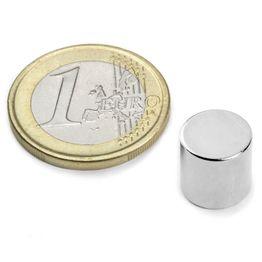 S-10-10-N Scheibenmagnet Ø 10 mm, Höhe 10 mm, hält ca. 3,9 kg, Neodym, N45, vernickelt