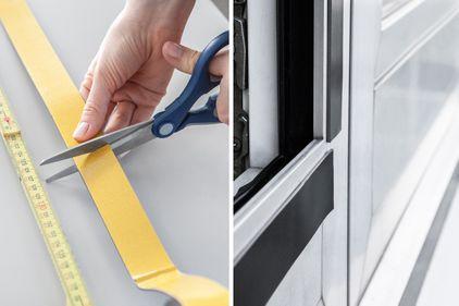 Selbstklebendes Magnetklebeband wird ausgemessen und an Fensterrahmen befestigt