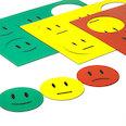 für Whiteboards & Planungstafeln, 6 Smileys pro A5-Bogen, 3-teiliges Set: grün, gelb, rot