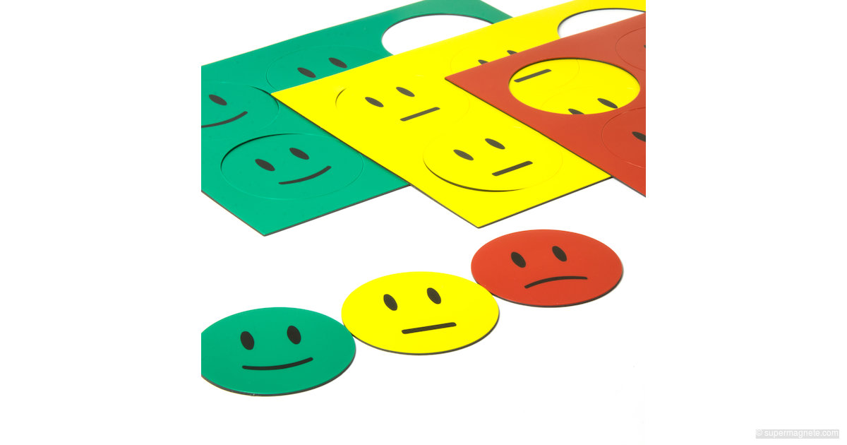 Smiley-Magnete rot gelb grün / Verhaltensampel