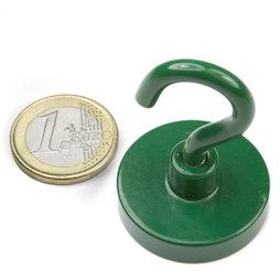 FTNG-32, Hakenmagnet grün, Ø 32,3 mm, pulverbeschichtet, Gewinde M5