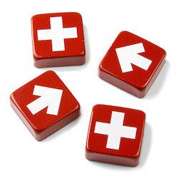 SALE-097, Swiss & Arrow, Dekomagnete mit Kreuzen und Pfeilen, 4er-Set