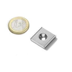 CSR-20-20-04-N, Flachleisten-Magnet 20 x 20 x 4 mm, mit Senkbohrung, in U-förmigem Stahlprofil
