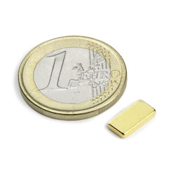 Q-10-05-1.5-G, Quadermagnet 10 x 5 x 1,5 mm, Neodym, N50, vergoldet