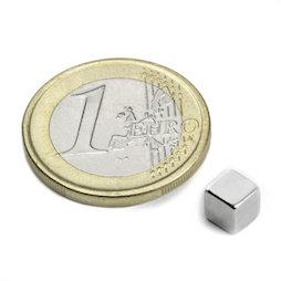W-05-N, Würfelmagnet 5 mm, Neodym, N42, vernickelt