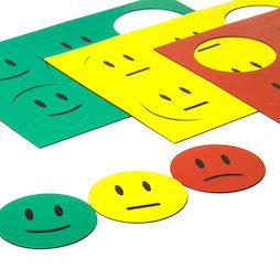 BA-016, Magnetsymbole Smiley, für Whiteboards & Planungstafeln, 6 Smileys pro A5-Bogen, 3-teiliges Set: grün, gelb, rot