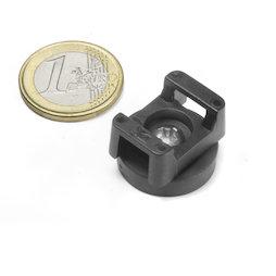 CMN-22, gummierter Topfmagnet, für Kabelmontage, Ø 22 mm