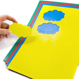 BA-014CL, Magnetsymbole Wolke, für Whiteboards & Planungstafeln, 10 Symbole pro A4-Bogen, in verschiedenen Farben