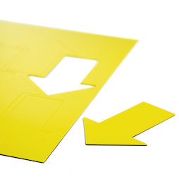 BA-014AR/yellow, Magnetsymbole Pfeil groß, für Whiteboards & Planungstafeln, 8 Symbole pro A4-Bogen, gelb