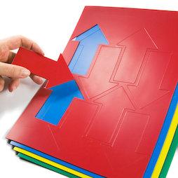 BA-014AR, Simboli magnetici freccia grandi, Per lavagne bianche & lavagne per la progettazione, 8 simboli per foglio A4, in diversi colori