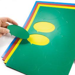 BA-014BO, Magnetsymbole Sprechblase oval, für Whiteboards & Planungstafeln, 10 Symbole pro A4-Bogen, in verschiedenen Farben