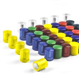 M-PC, Tafelmagnete zylindrisch, Neodym-Magnete mit Kunststoffkappe, Ø 14 mm, in verschiedenen Farben